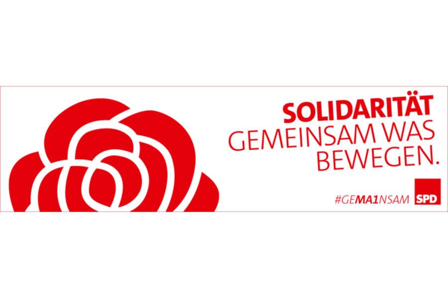 SPD-Logo mit Text: Solidarität. Gemeinsam was bewegen.