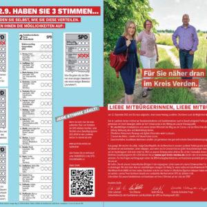 Bild mit Spitzenkandidaten und Erläuterung des Wählens